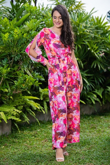 ONE SHOULD PRINTED JUMPSUIT