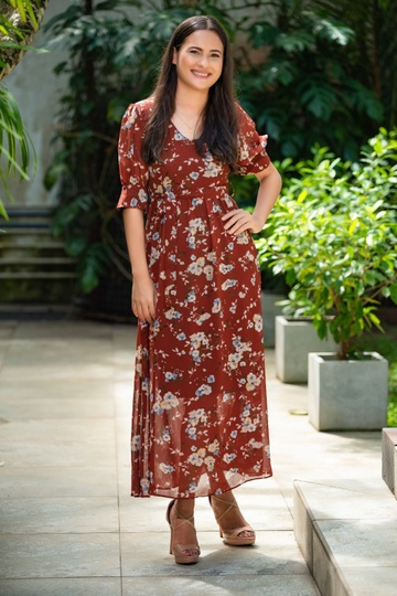 PUFF SLEEVE BROWN   FLORAL DRESS