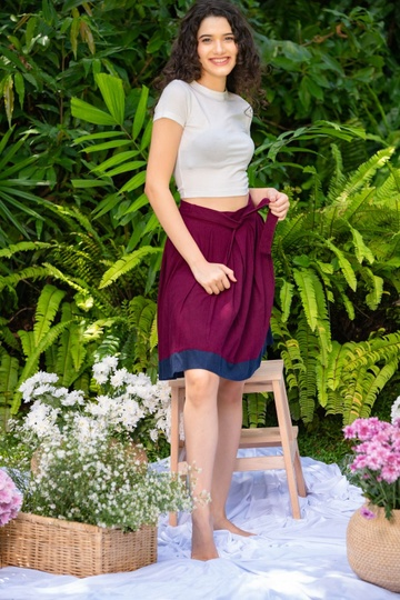 LINEN PLEATED TWO TONE SKIRT  MAROON COLOUR
