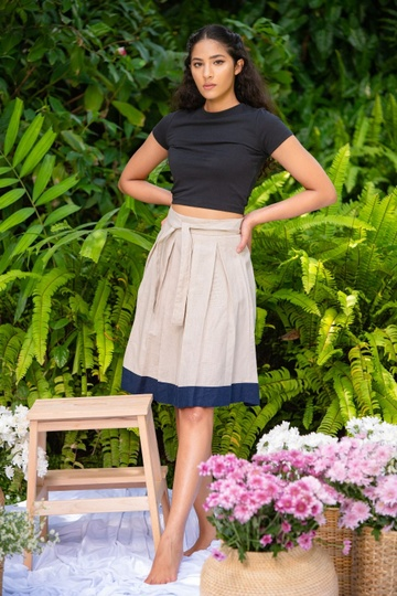 LINEN PLEATED TWO TONE SKIRT  ASH COLOR