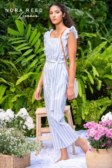 FRILL DETAIL JUMPSUIT  WHITE PRINTED
