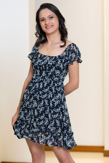 PRINTED RUCHED BUST DRESS BLACK