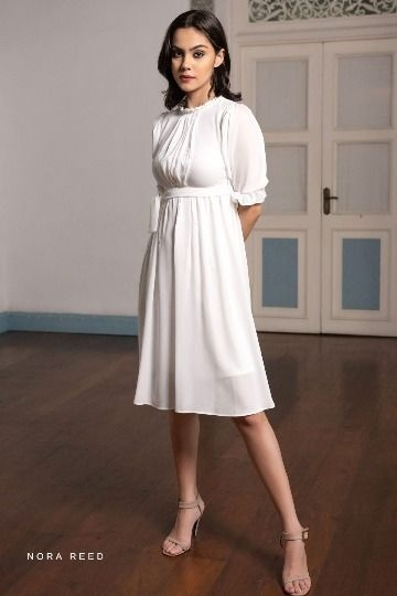 PLEATED DETAIL PUFF SLEEVE DRESS WHITE COLOR