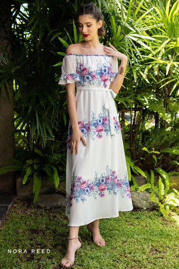 OFF SHOULDER SLEEVE DETAIL MAXI DRESS WHITE PRINTED