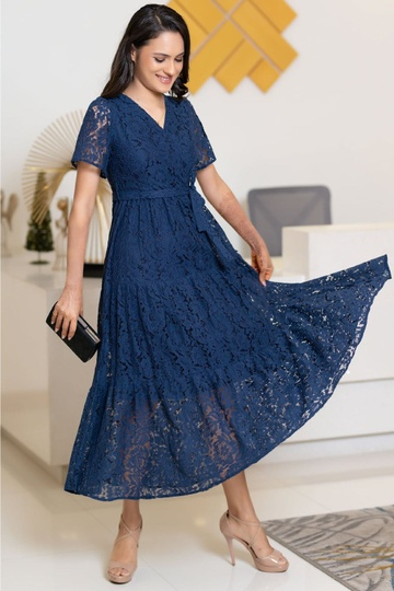 LACE TIERED MAXI DRESS BLUE