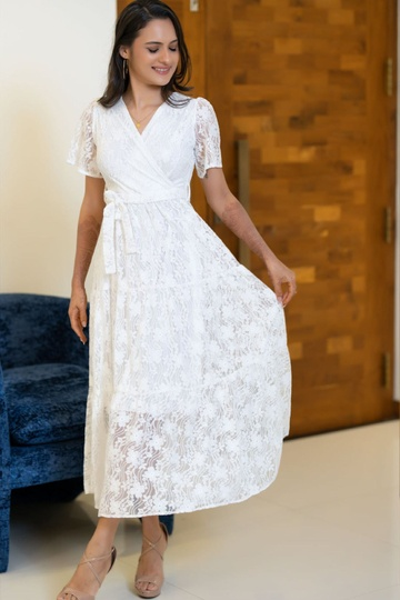 LACE TIERED MAXI DRESS WHITE