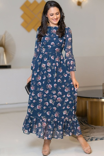 FLORAL PRINTED HIGH NECK LONG SLEEVE FRILL DETAIL DRESS NAVY BLUE